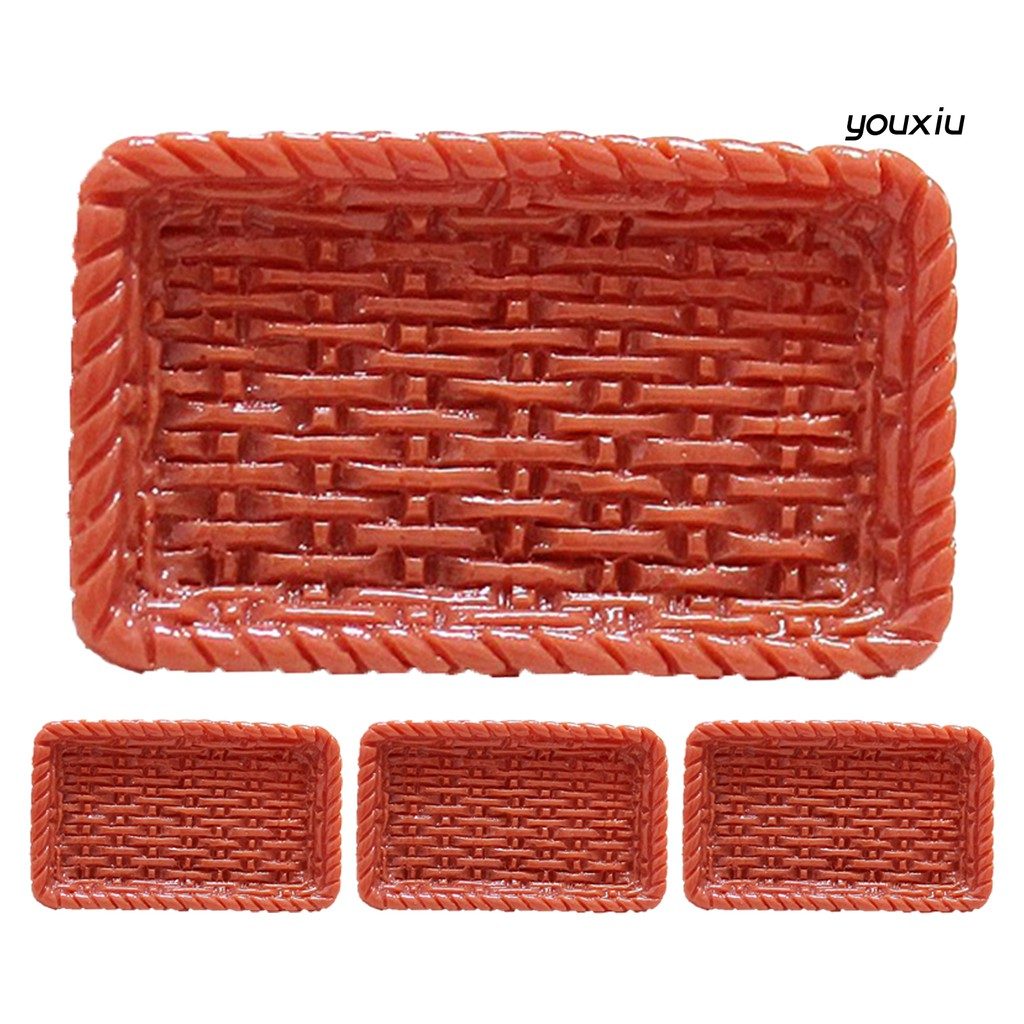YOU-d 4Pcs Mini Simulation Rattan Tray Plate Model Doll House Decoration Play Toys