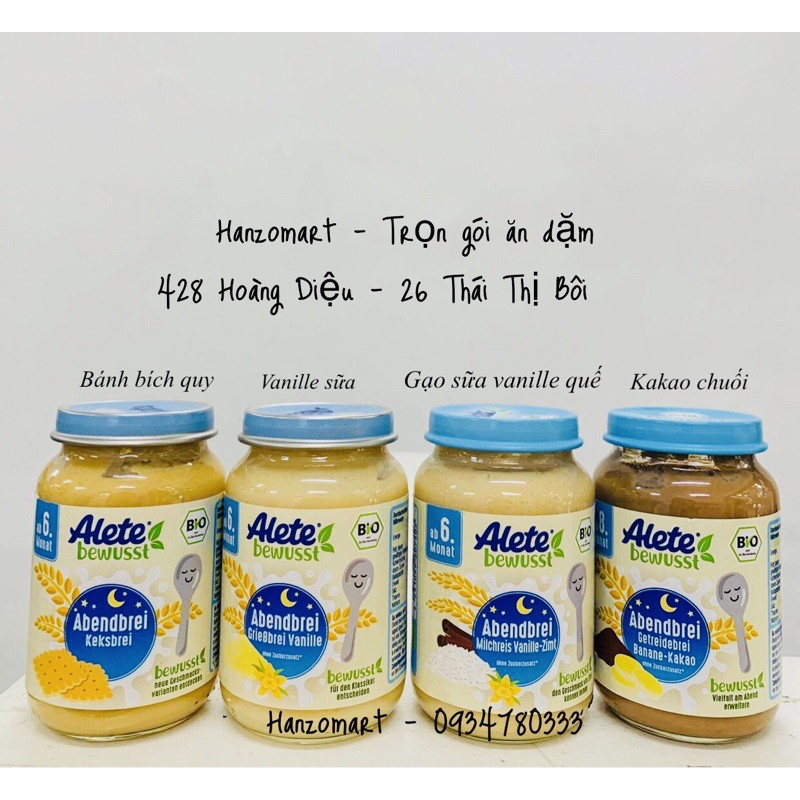 Hũ dinh dưỡng/ngũ cốc ăn liền Alete cho bé 6m+ hàng air Đức