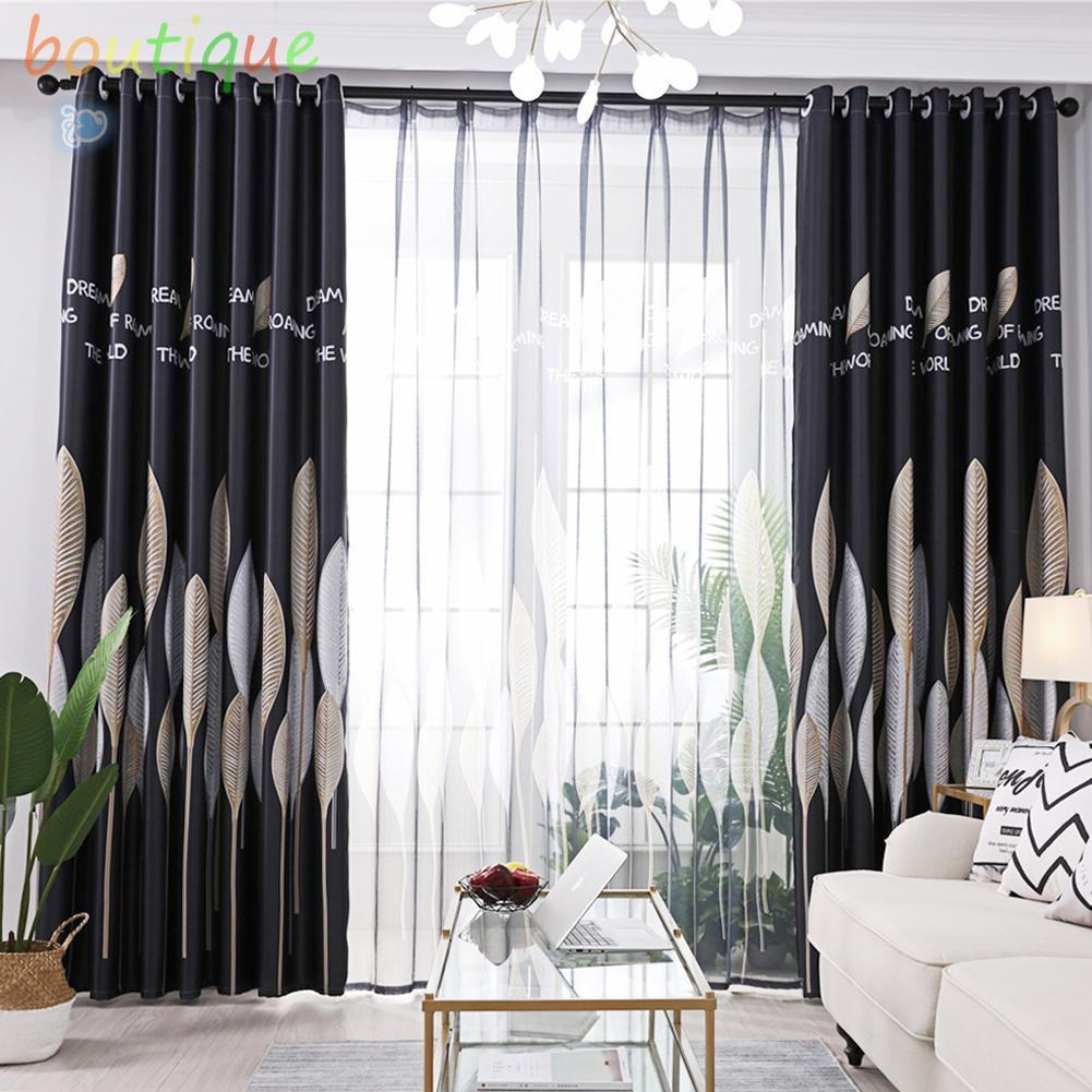 bou^♫1pc Leaves Printed Semi-Blackout Curtains Living Room Bedroom Windows Drape☆