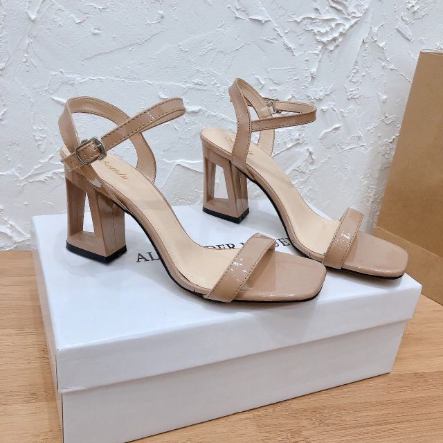 FREE SHIP Giày cao gót/ Sandal quai mảnh gót lỗ đế vuông 7cm