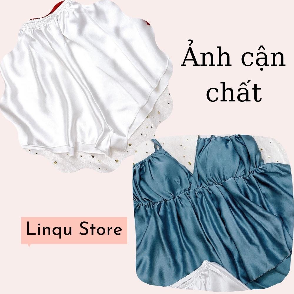 Mặc gì đẹp: Ngủ ngon hơn với Đồ Ngủ Sexy Nữ Chất Satin Đồ Ngủ 2 Dây Xẻ Sâu Có Mút Ngực Freesize - Linqu Sleepwear