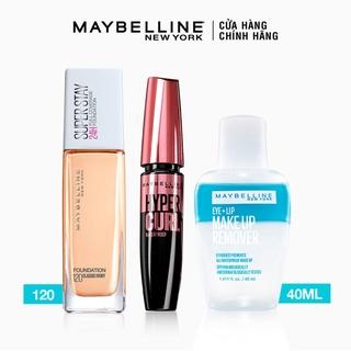 [Bộ sản phẩm] Kem Nền Superstay Long Lasting Full Coverage+Mascara Hyper Curl+Tẩy trang mắt môi Maybelline New York thumbnail
