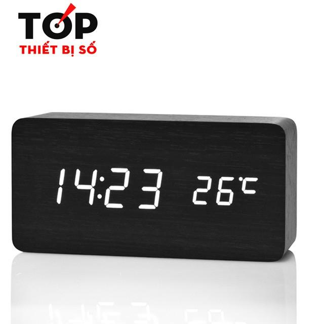 Đồng hồ giả gỗ LED trắng, có hiển thị nhiệt độ, ngày tháng năm