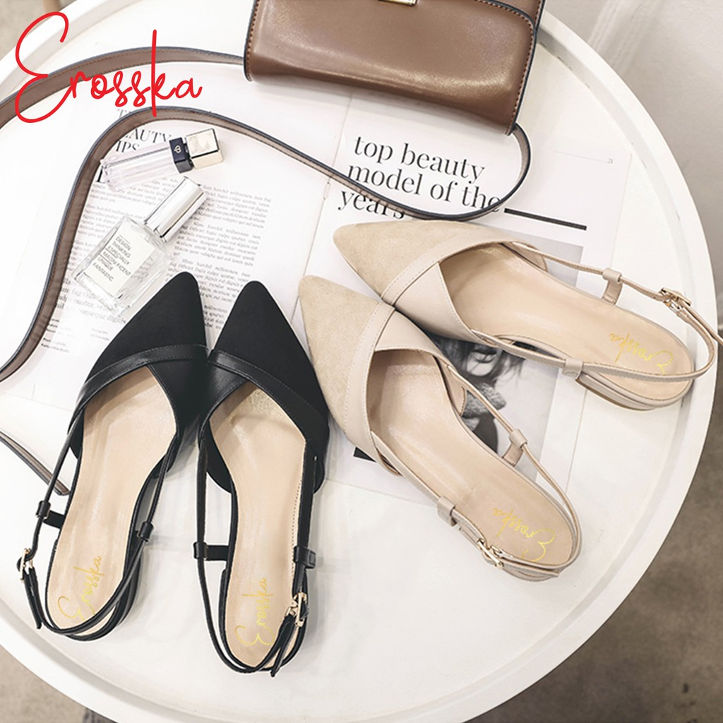 Hình ảnh Giày Sandal Nữ Đế Bệt Mũi Nhọn Thời Trang Erosska EL005 ( Màu Nude)-1