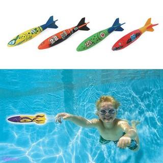 4 Pcs/Pack Torpedo Rocket Throwing Toy New Swimming Pool Summer Underwater Toy