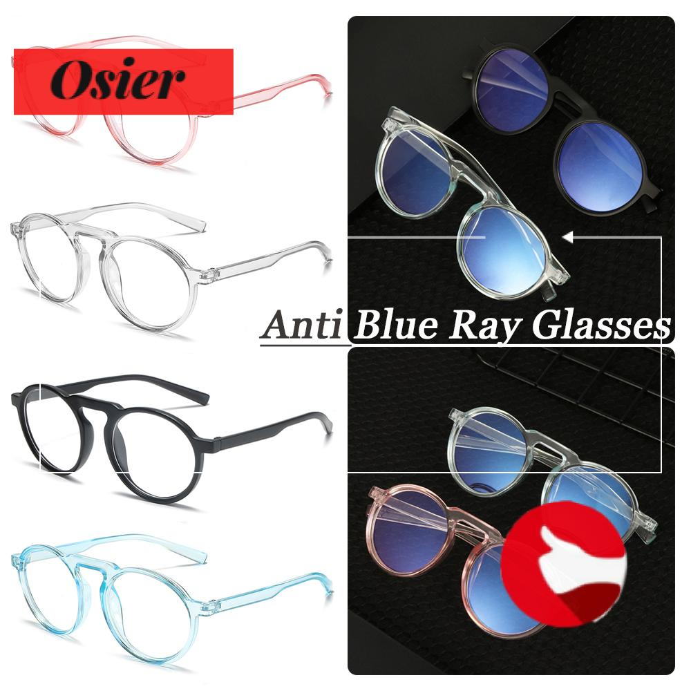 👒OSIER🍂 Improve Comfort Optical Spectacle Frames Round Frame Resin Lens Anti Blue Ray Glasses Transparent Fashion Ultralight PC Frame Radiation Protection Computer Gaming Eyewear