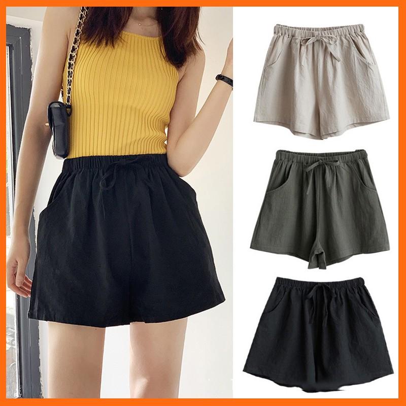 Quần short nữ ống rộng cá tính MADELA, quần đùi nữ ống rộng chất đũi mát siêu đẹp