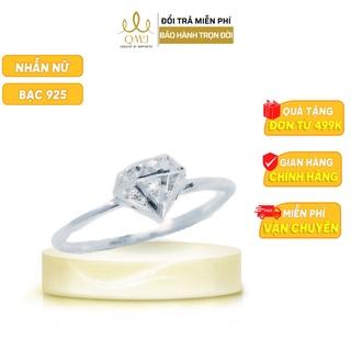 QMJ Nhẫn bạc Thiên kim 3D sang chảnh nạm đá kết hợp phay móc máy sáng - Q282 thumbnail