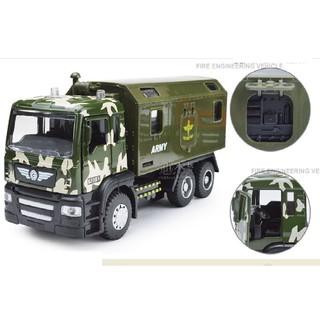 Xe mô hình ô tô quân đội màu xanh đầu xe bằng sắt có âm thanh và đèn mở cửa