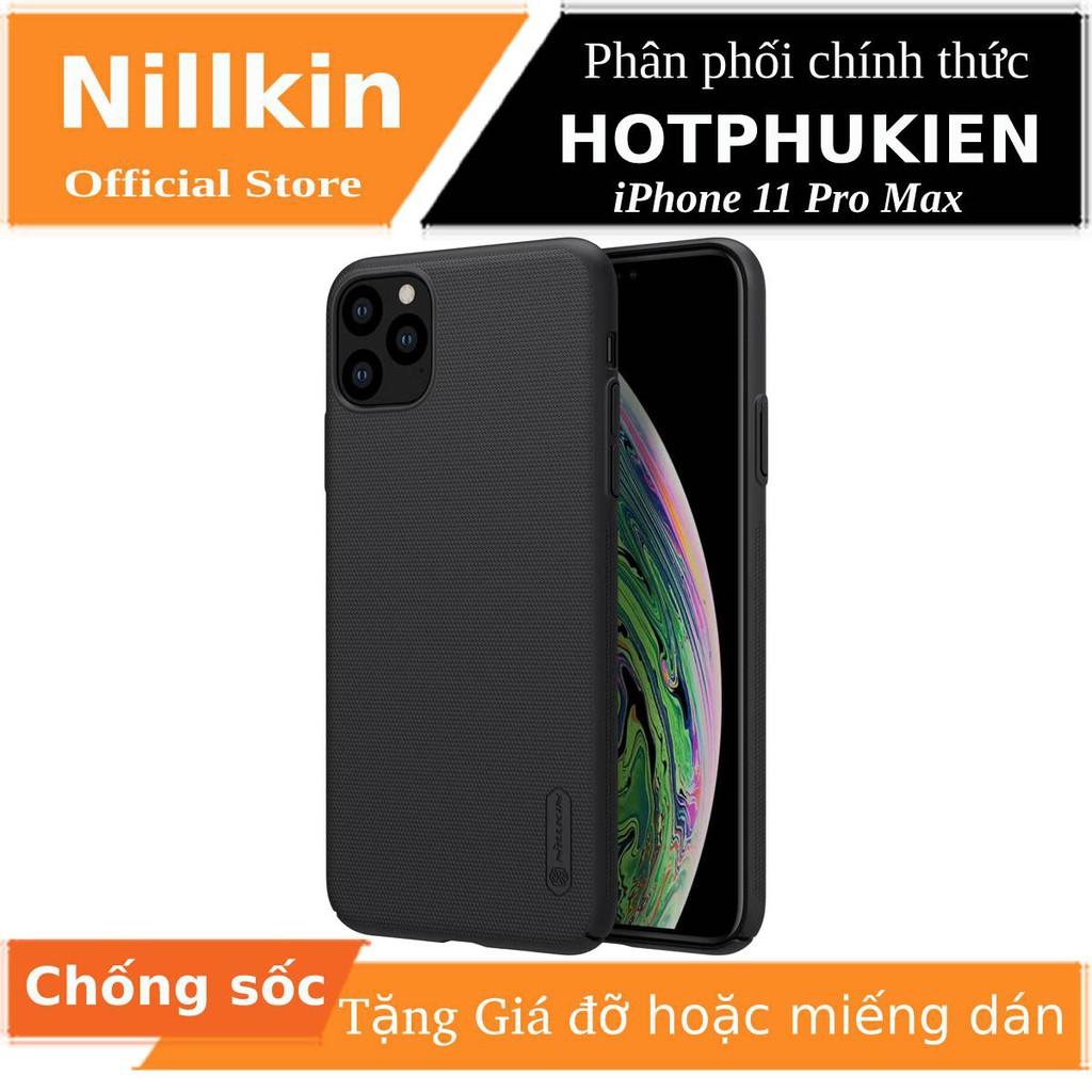 Ốp Lưng Sần chống sốc cho iPhone 11 Pro Max hiệu Nillkin (Đính kèm giá đỡ hoặc miếng dán từ tính) - Hàng Chính Hãng
