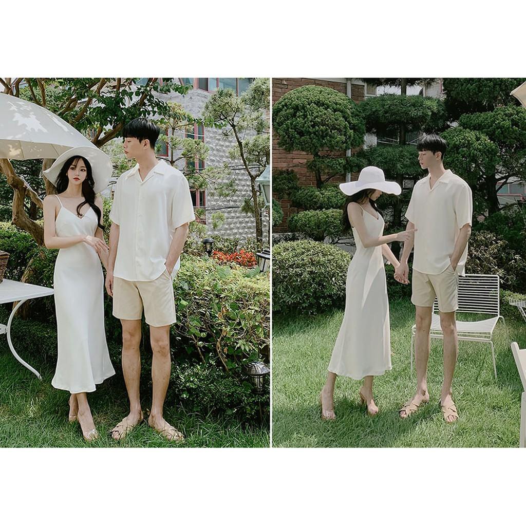 áo đôi nam nữ, sét váy nữ áo sơ mi nam cặp đôi màu trắng hàn quốc