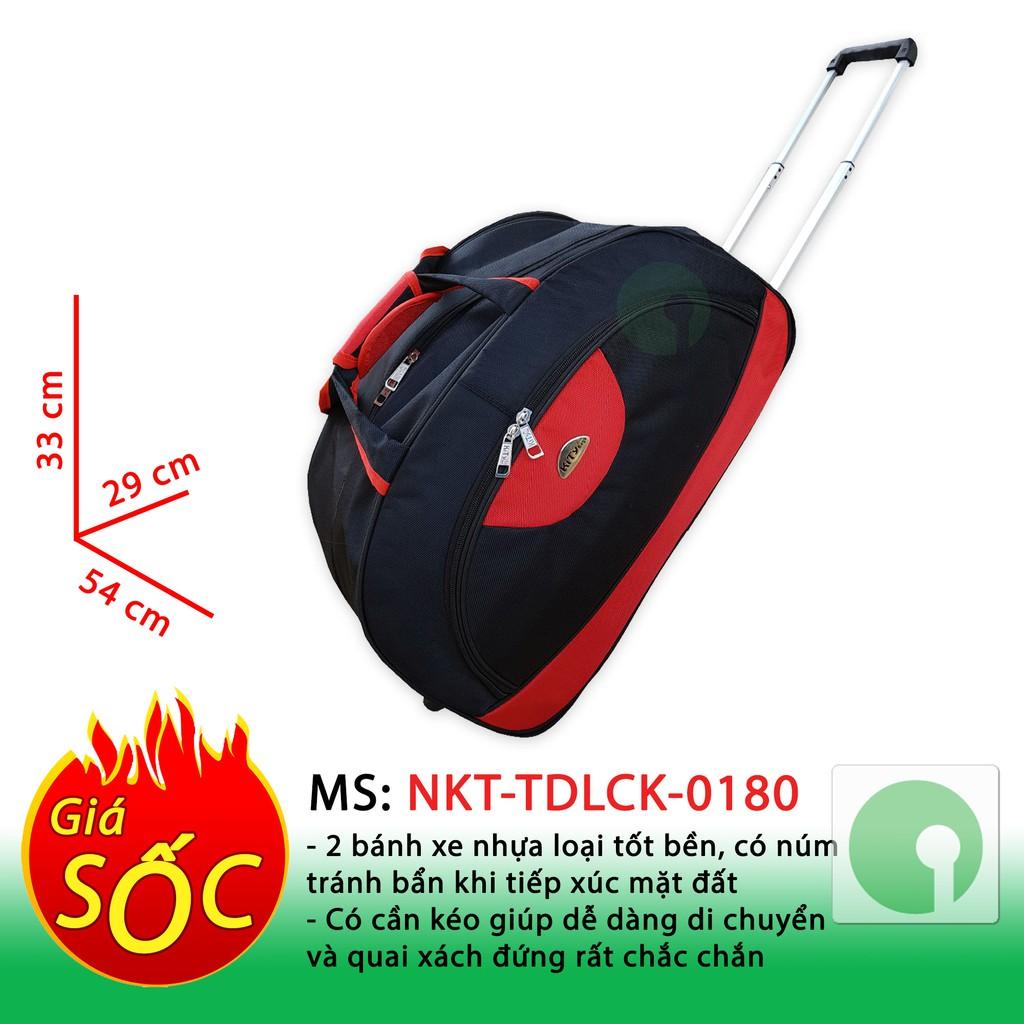 Túi du lịch cá nhân - gia đình có cần kéo giá rẻ - hợp thời trang nam nữ - NKT-TDLCK-0180 (Xanh,đỏ)