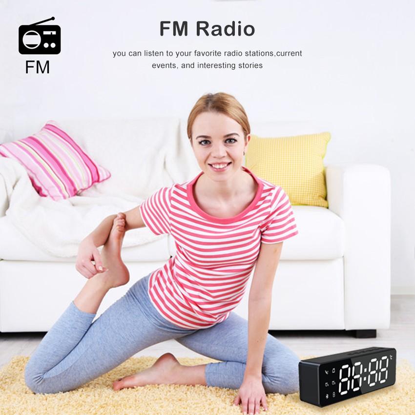 Loa Bluetooth Không Dây Tích Hợp Đồng Hồ Báo Thức Wiresto Hỗ Trợ FM TF