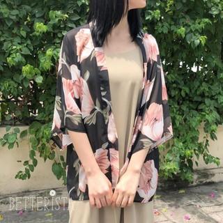 Kimono Ngắn Họa Tiết Đen Hoa To thumbnail