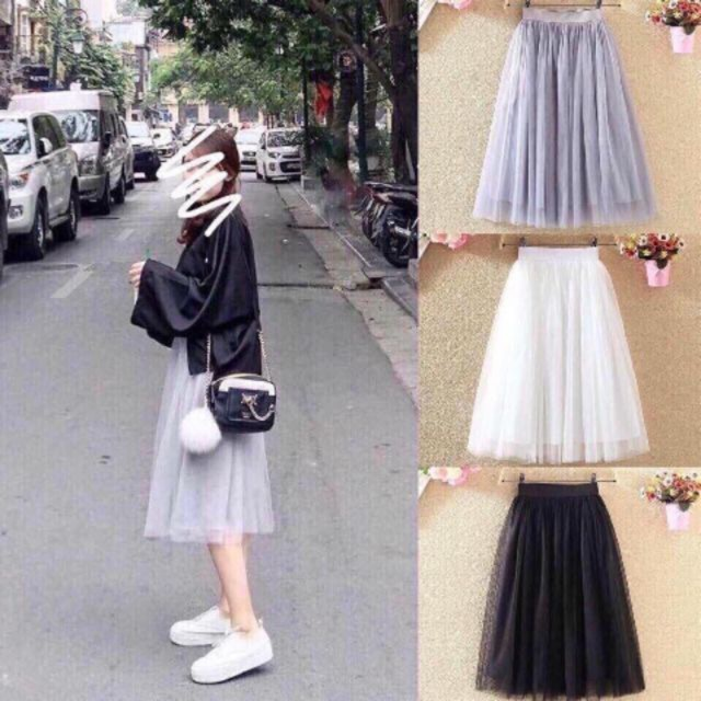 [XẢ KHO 3 NGÀY ] Chân váy lưới tutu nhiều màu - váy dài nữ- mua hóa đơn trên 300k được tặng 1 phần quà từ shop CAROTSHOP