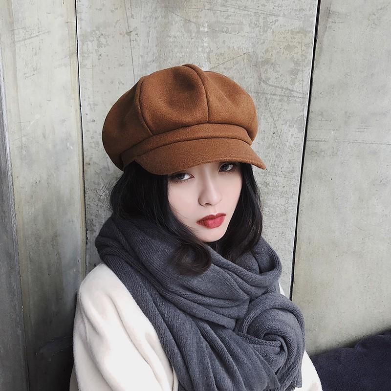หมวกทรงแปดเหลี่ยมแฟชั่นผู้หญิงป่าสุดน่ารักหมวกเบเร่ต์