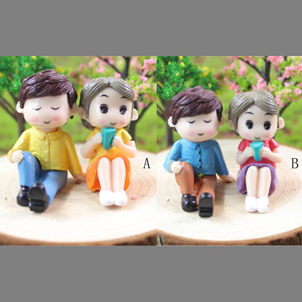 [rt81bsby] 2Pcs/set Mini Couples Doll Fairy Garden Miniature Decor Dollhouse Action Figures [rt81bsby]