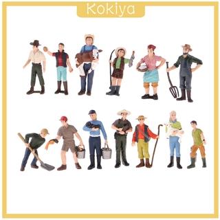 [KOKIYA] 13x Painted Model Figure People Farmers Layout Landscape Scenery Accessories