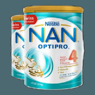 """[Mã NESCCB04 hoàn 10% xu đơn 500000] [Tặng 1 Bộ chì màu hộp gỗ] Combo 2 Lon Sữa Bột Nestle NAN Optipro 4 1,8kg/lon giá chỉ còn <strong class=""""price"""">99.900.000.000đ</strong>"""
