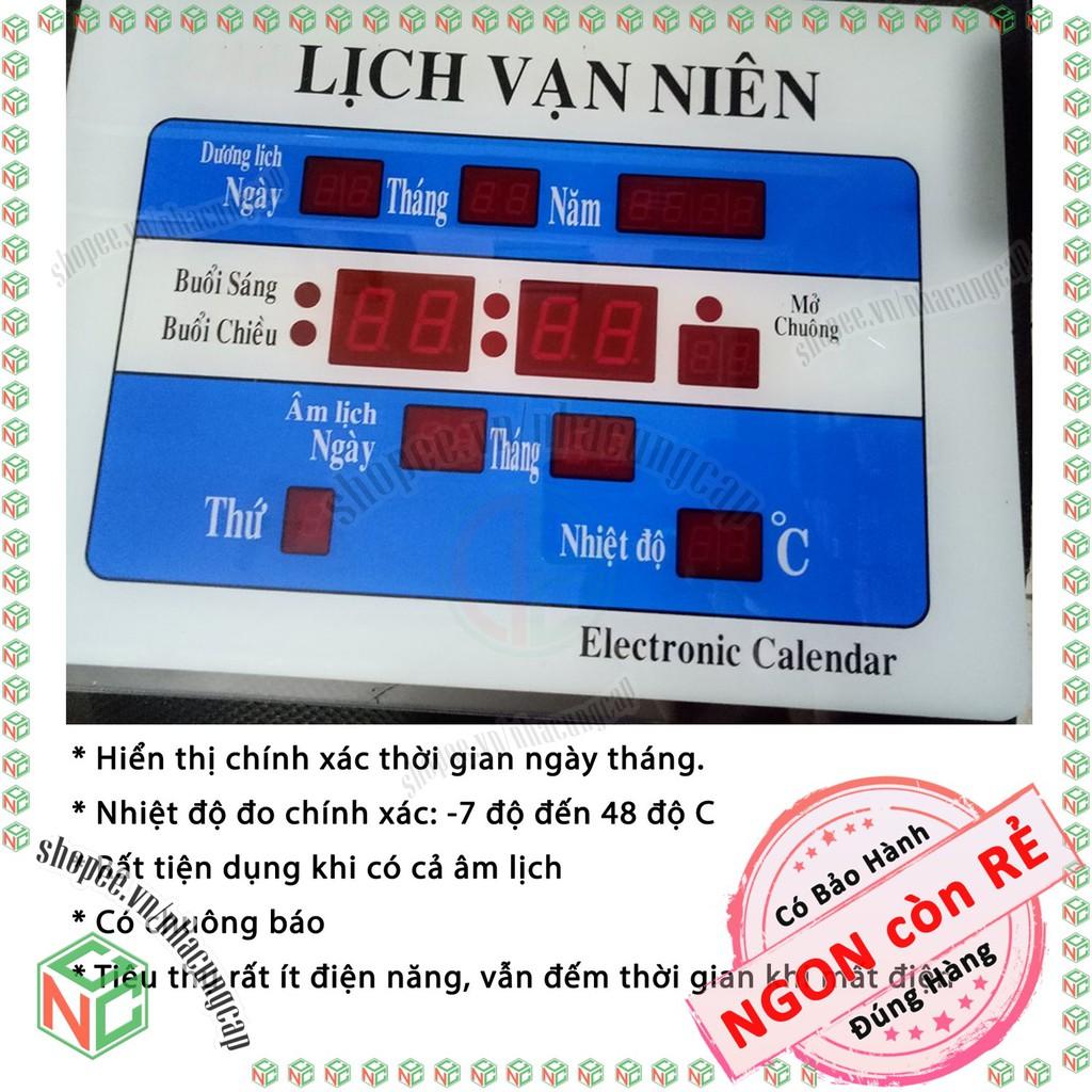 Đồng Hồ Điện Tử Lịch Vạn Niên - Treo Tường Cắm Điện - Có Thứ Ngày Tháng - Lịch Âm và Nhiệt Độ - NLVQ-2583-DLVN