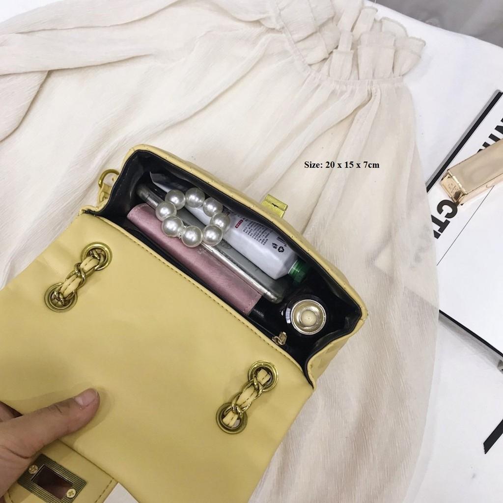 Túi xách nữ đeo chéo ALANI trần trám khóa ngang siêu sang HY051