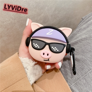 LYViDre 3D Hip-hop Pig style Earphone Case For Huawei Freebud 4i Protective Case For Huawei Freebud 4i Bluetooth Headset Decoration Cover Earphone Accessories