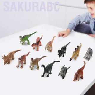 Sakurabc 12pcs/set Soft Plastic Dinosaur Model Educational Toy for Toddler Children Kids Gift Collection