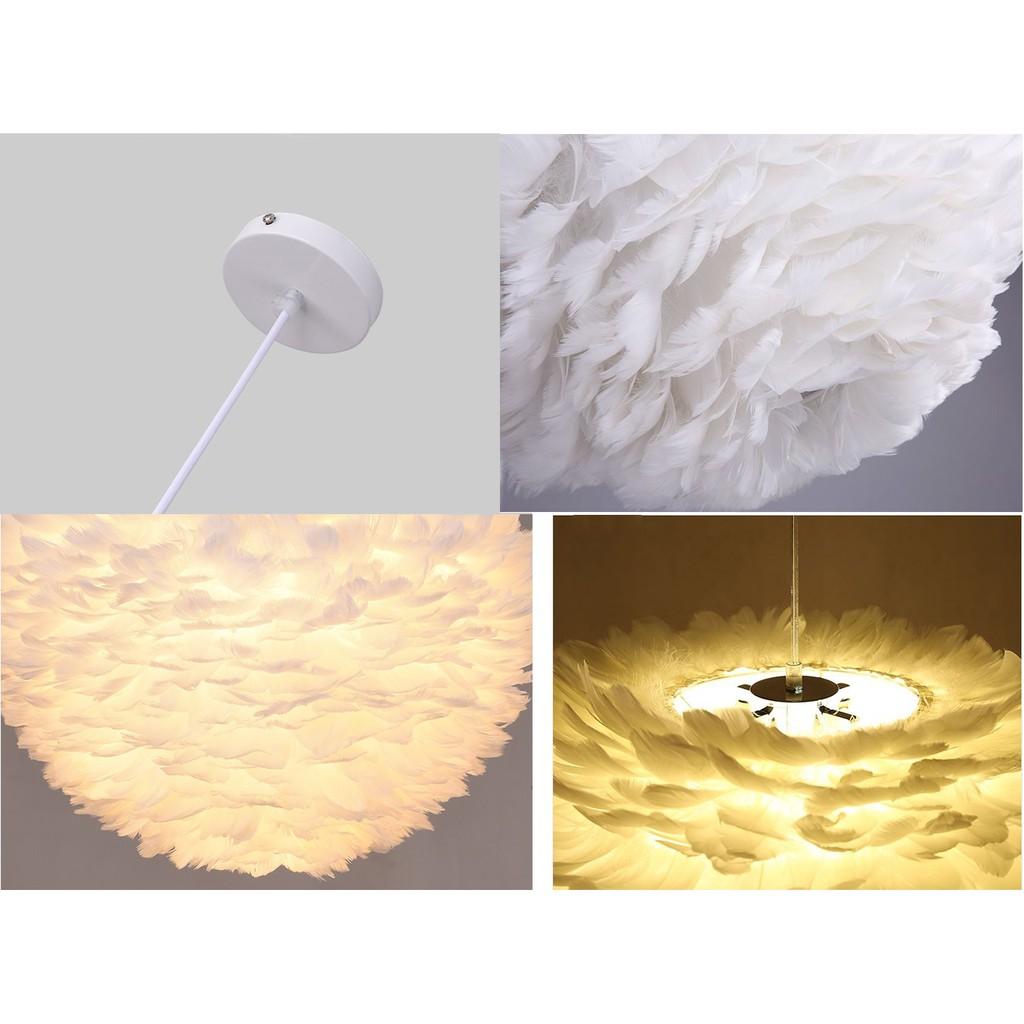Đèn chùm MONSKY HERIN lông vũ kiểu dáng độc đáo, hiện đại loại 45cm với 3 chế độ ánh sáng - kèm bóng LED chuyên dụng.