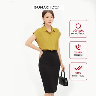 Chân váy nữ dáng bút chì GUMAC màu đen thiết kế basic VB540