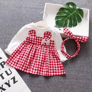 Set đầm dài tay và băng đô họa tiết ca rô xinh xắn dành cho bé gái