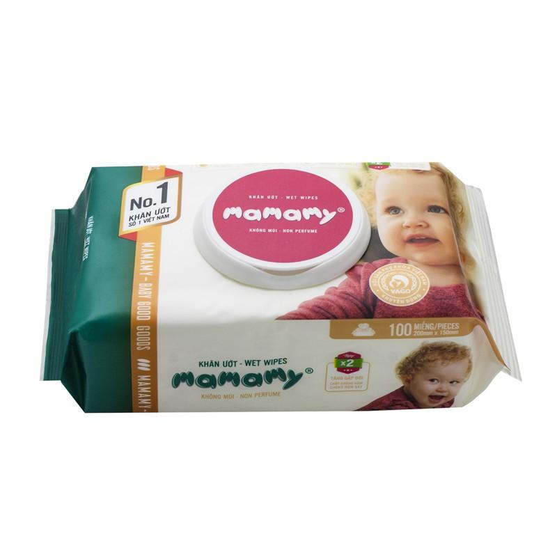 Khăn giấy ướt Mamamy / khăn ướt Mamamy không mùi 100 tờ