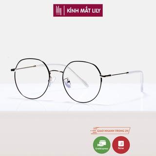 Gọng kính cận Lilyeyewear, chất liệu kim loại mắt tròn, phụ kiện thời trang nữ - 2895