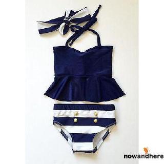 Baby Girl Navy Bikini Suit 3pcs set