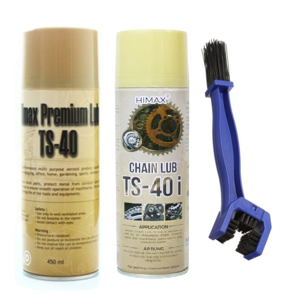 Combo 3 Chai xịt vệ sinh sên xe máy, PKL TS-40 450ml, bảo dưỡng sên TS-50 300ml và bàn chải vệ sinh sên chuyên nghiệp 3D