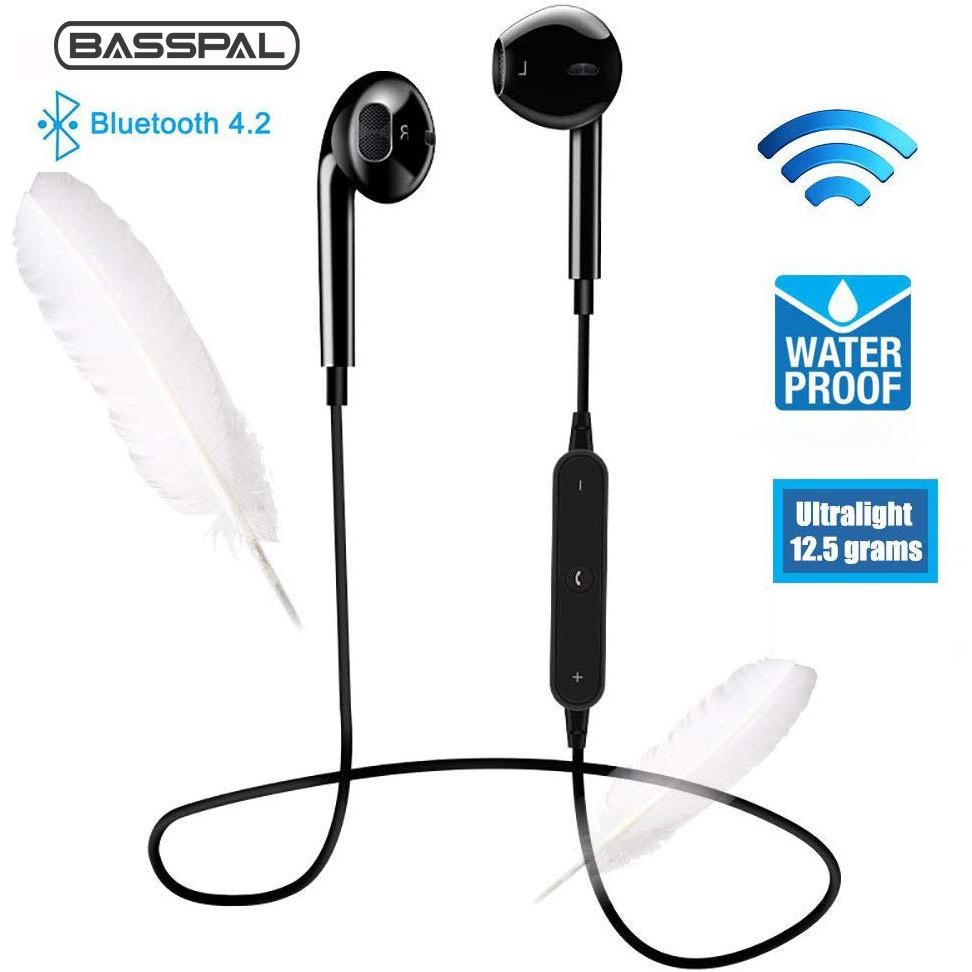 Tai nghe nhét tai kết nối Bluetooth không dây chống mồ hôi tích hợp mic tiện dụng