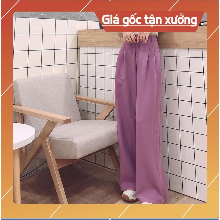 Quần suông ống rộng TÍM, quần cullotes TÍM siêu xinh, mặc hack dáng cực kỳ g