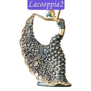 [LACOOPPIA2] Female Peacock Dancer Figurine Dancing Sculpture Resin Crafts Home Decor