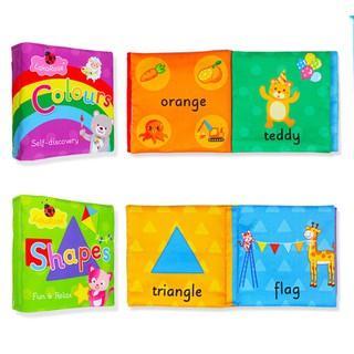 [ RẺ VÔ ĐỊCH] Bộ sách vải set 2 cuốn kiến thức cơ bản màu sắc + Hình khối reoilare88