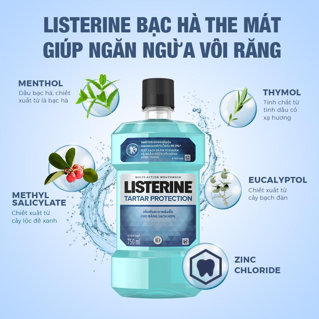 [Mã FMCGMALL giảm 8% đơn 250K] Nước súc miệng ngăn ngừa mảng bám Listerine Tartar Protection 750ml - 100945465