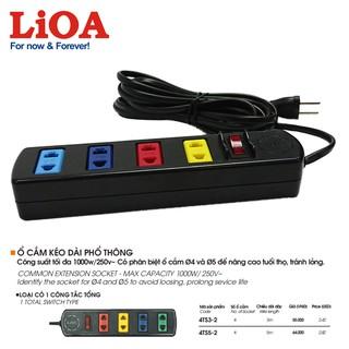 [4ổx3mx1000W] Ổ cắm điện LiOA – Ổ cắm kéo dài phổ thông 4 ổ cắm có công tắc LiOA 4TS3-2