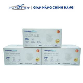 Combo 3 hộp khẩu trang y tế cao cấp kháng khuẩn 4 lớp Famapro max màu trắng (40 cái hộp ) thumbnail