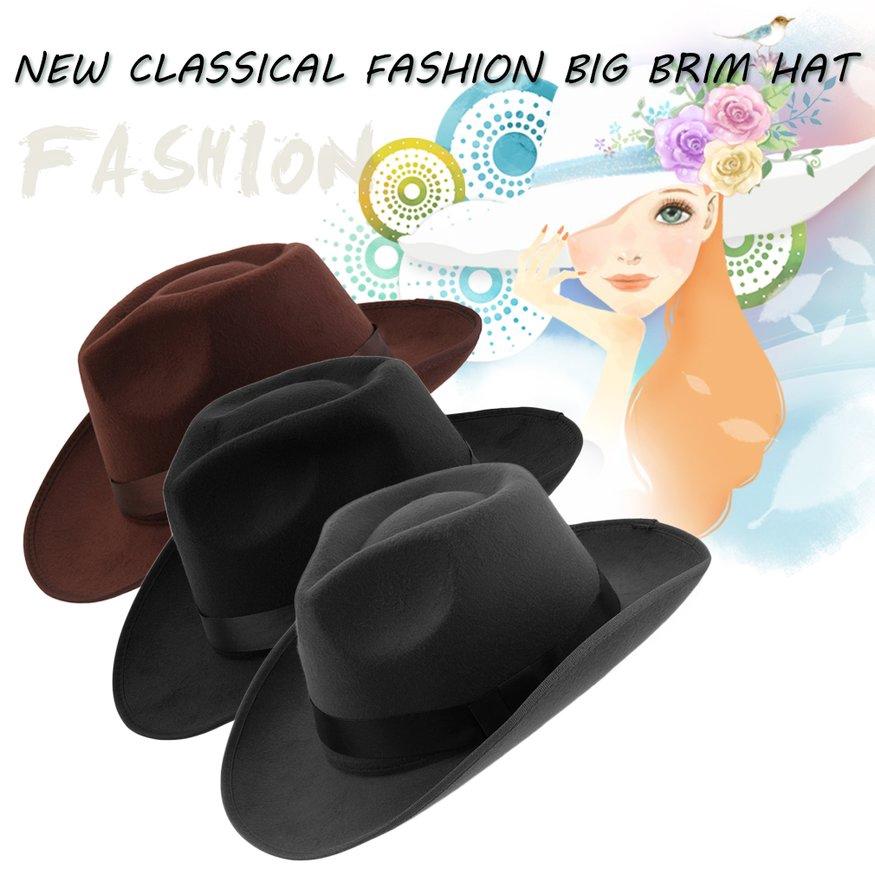 Fashion Women Felt Hat Wide Brim Outdoor Sun Beach Hat For Vacation Travel