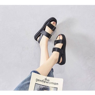 Giày Sandal Đế Bằng 3 Phân Da Lì Quai Đôi Phối Khóa 61131_151121