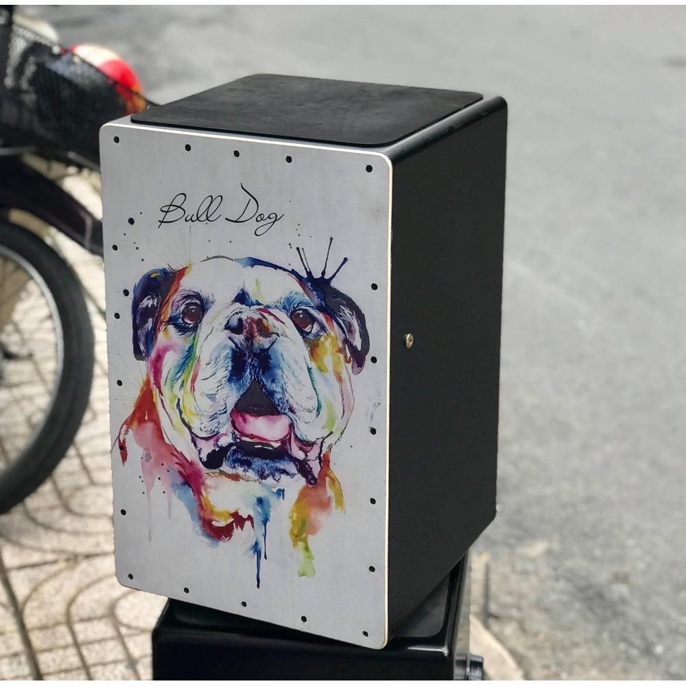 Trống cajon vẽ hình chó bull bao bền - tặng bao đựng