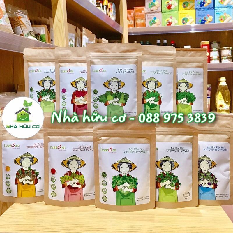 Tổng hợp các loại bột rau củ nguyên chất sấy lạnh Dalahouse 50gr - Bột rau xanh cho bé ăn dặm