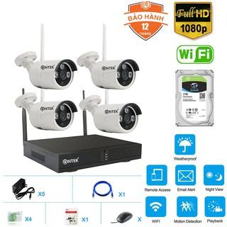 Bộ Camera giám sát Không dây KIT NVR OnTek SX400 FHD 1080P - 2.0MP, Kèm HDD (2TB 1TB 500GB 0GB) - Đủ phụ kiện lắp đặt thumbnail