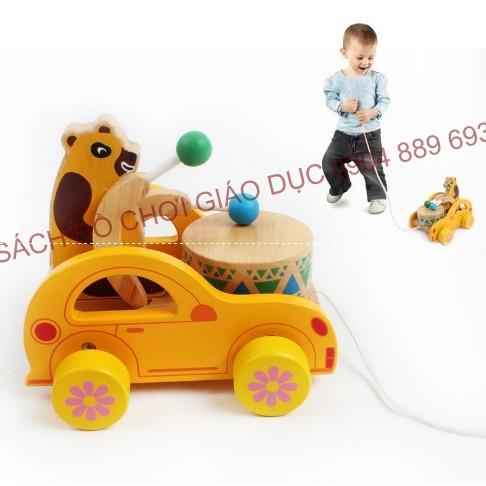 Xe kéo gấu đánh trống cho trẻ tập đi - Poko Bear