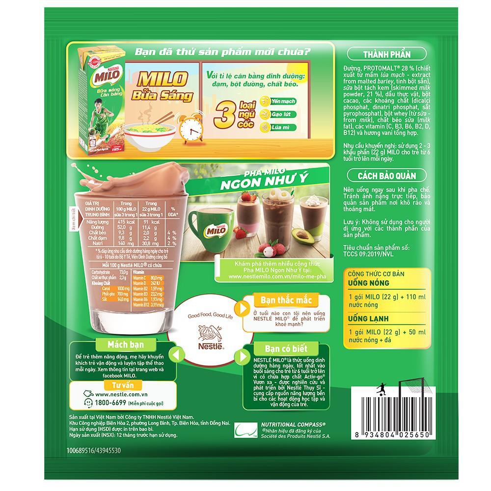 [HN] Thức uống lúa mạch Nestlé MILO 3 trong 1 Bịch 220g (10x22g)