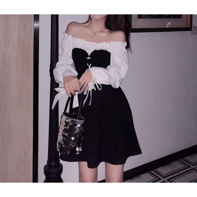 Váy nữ tay buộc nơ phối đen trắng