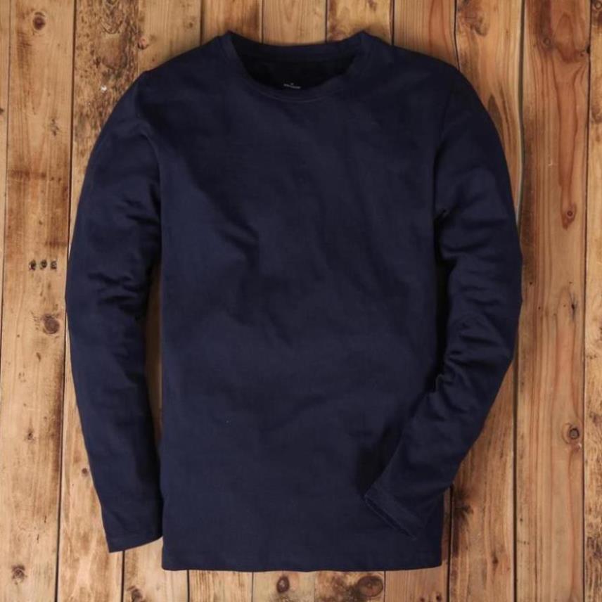 Áo thun dài tay cổ tròn nam màu xanh than,vải mềm mịn, co dãn, thoáng mát, thấm mồ hôi - King Man Store